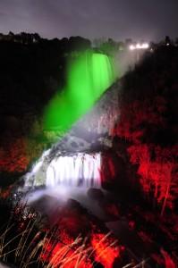 La Cascata delle Marmore tricolore