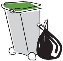 sacchetto e cassonetto per raccolta differenziata